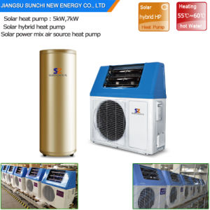 Save 80% Energy Supper Cop5.32 Home Dhw 60deg. C 220V 5kw 260L, 7kw, 9kw Tankless Domestic Solar Powered Water Pump Air Heating pictures & photos
