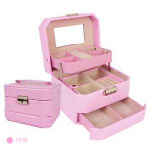 Pink Color Magnet Pu Leater Boxes Ring Gift Boxes Jewelry Packaging Case For Jewelry