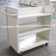 White Tri-Layer Noiseless Book Cart