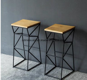 Contemporary And Contracted Creative High Solid Wood, Wrought Iron Bar Chair  Leisure Bar High Geometric Solid Bar Chair (M X3396)