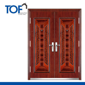 Decorated High Quality Steel Security Exterior Double Swing Door