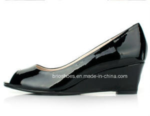 Shine Black Wedge Middle Heel Shoes for Ladies
