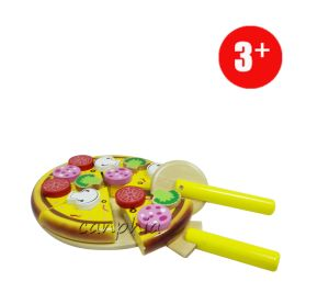 DIY Wooden Cutting Pizza Toy, Novelty Children Wooden Cutting Cake Toy, Cutting Food Toy for Kid Pretend Play