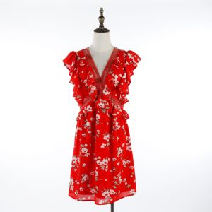 Spring Summer Flower Printed Red Dress