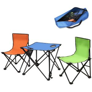 Foldable Table And Chair Set.Portable Folding Table Chairs Set For Fishing Camping Garden Beach
