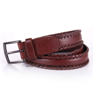Classical Unisex Lether Qualified Pin-Buckle Woven Belt pictures & photos