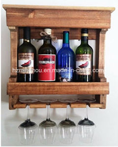 Wall Mounted 4 Bottle Wooden Wine Glass Rack