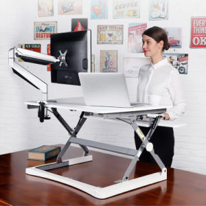Height Adjustable Monitor Stand Office Desk with Keyboard Tray