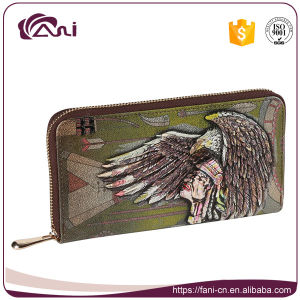 High Quality Zip Genuine Leather Purse with Embossed Picture pictures & photos