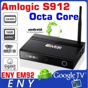 2016 Most Powerful Android TV Box Em92 Amlogic S912 Octa Core 2g 16g  2 4G/5 8g AC WiFi Antenna Front Digital Display