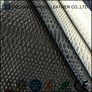 Snake Pattern Artificial PVC Leather PU Leather for Shoes/Bags/Sofa and Furniture Upholstery pictures & photos