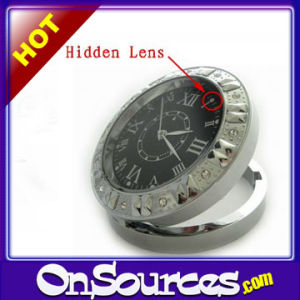HD Clock Mini DVR Stainless Steel Crystals Camera Clock Motion Detection