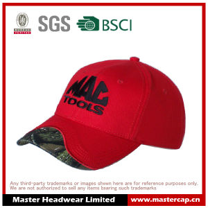 Red Baseball Cap with Flat Embroidered