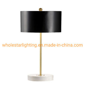 Metal Table Lamp with Marble Stone Base (WHT-055)