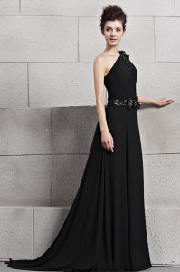 Stunning One-Shoulder a-Line Sweep Train Evening Dresses Gowns (GK 09513)
