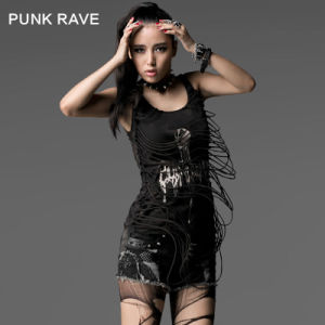 Punk Rave Printed Girls Wholesale Sleeveless Vest T-Shirt (T-304)