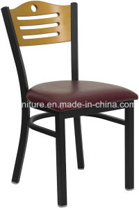 Metal Restaurant Dining Chairs, Wood Back Plus Vinyl Seat