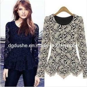 Lady Lace Long Sleeve Fashion Skirt Blouse Wholesale/Tops (S129005)