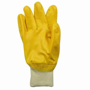 Yellow Nitrile Cotton Jersey Glove pictures & photos