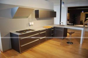 Home Furniture Champagne Color Customized Made PVC Kitchen Cabinet