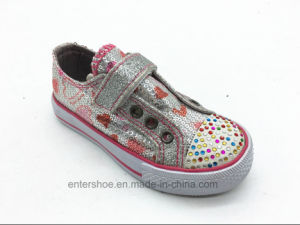 Bling Bling Vulcanized Fashion Children′s Shoes with Stones (ET-LH160293K)