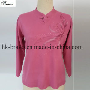 Women′s Ruffled Collar Long Sleeve Knitted Stock Pullover Sweater (PINK01)
