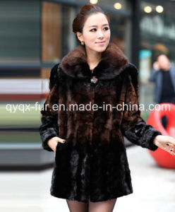 2015 Hot Selling Women′s 100% Imported Mink Fur Coat Gradient Color