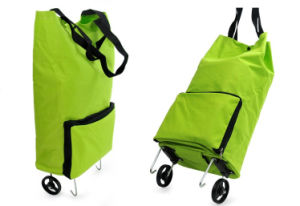 Foldable & Reusable Shopping Trolley Bag with Two Wheeled pictures & photos