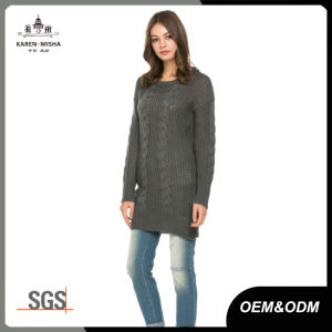 Brown Cable Knit Winter Long Sweater for Women pictures & photos