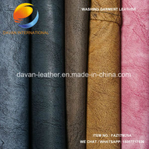 Washed Artificial Leather for PU Garment pictures & photos