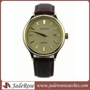 Hot Selling Fashion Genuine Leather Strap Stainless Steel Case with Date Man Watch pictures & photos