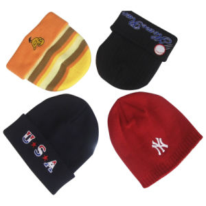 Wholesale Cheap Custom Baby Kids Slouchy Embroidered Knitted Winter Warm Cap Hats Beanie for Men pictures & photos