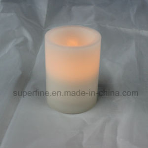 Amber Color Flickering Flameless Pillar Wax LED Candle with Battery Operated pictures & photos