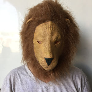 Hot Funny Mask Animal Costume Lion Head Theater Prop Novelty Latex Rubber Cove