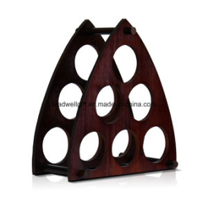 Wooden Pyramid Decorative 6-Bottle Wine Rack Wine Box Holder pictures & photos