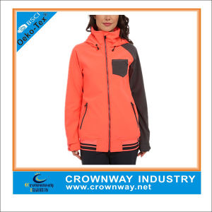 Womens Winter Orange Breathable Full-Zip Front Soft Shell Jacket pictures & photos