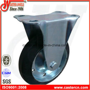 6 Inch Fixed Industrial Caster with Black Rubber Wheel pictures & photos