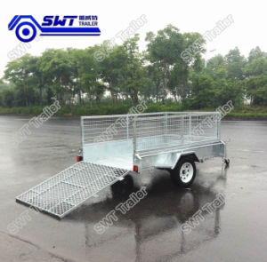 Galvanized Single Axle Box Cage Trailer with Mesh Ramp pictures & photos