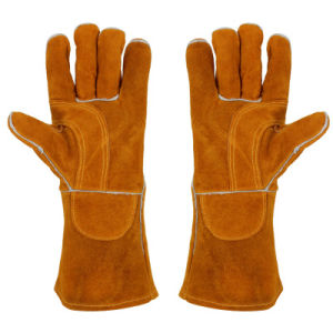 Cow Split Leather Yellow High Quality Heat Resistant Welding Gloves
