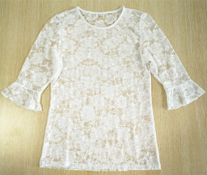 Laterst Sexy Lace Hubble-Bubble Sleeve White T-Shirt