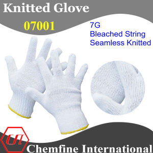 7g Bleached Polyester/Cotton Knitted Glove with Yellow Over Lock pictures & photos