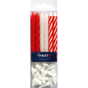 Red And White Birthday Cake Candles SPC0002
