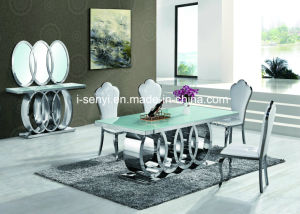 Enjoyable Modern Audi Marble Top Tempered Glass Top Stainless Steel Dining Table Best Image Libraries Thycampuscom