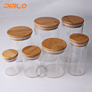 Genial (90ml 170ml 300ml 400ml 500ml600ml800ml) Glass Jar With Rubber Seal Bamboo  Wooden Lid For