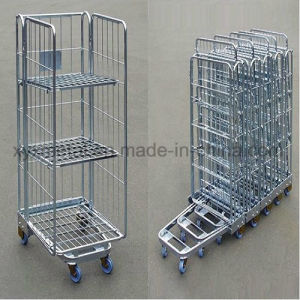 3 Sides a Frame Supermarket Wire Cage Hand Trolley Roll Pallet pictures & photos
