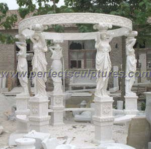 Stone Marble Garden Gazebo with Casting Iron Top (GR034) pictures & photos