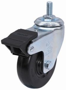 Threaded Stem Rubber Caster With Dual Brake (Black) pictures & photos