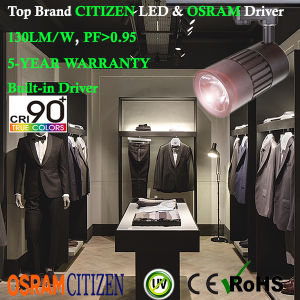 15W 90+Ra LED Tracklight Citizen COB with Osram Non-Flicker Driver Global Adaptor