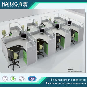 Simple 4 Seaters Office Workstation with Acrylic Partition and Drawer Unit