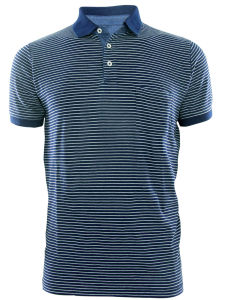 Men New Design Knitting Denim Fashion Stripe Polo Shirts Top Clothing (EE17052)